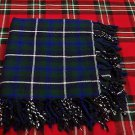 "Scottish Blue Douglas Highland Tartan 4 way Purled & Fringed FlyPlaid Shawl 48""X48"""