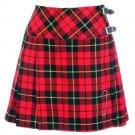 New Ladies Wallace Tartan Scottish Mini Billie Kilt Mod Skirt w34