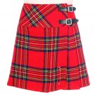 Ladies Royal Stewart Tartan Skirt Scottish Mini Billie Kilt Mod Skirt w36
