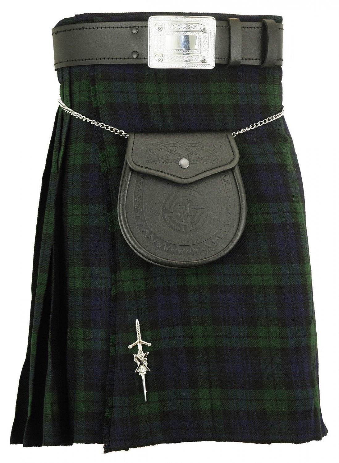 Black watch traditional tartan kilt highland acrylic skirt Size 42