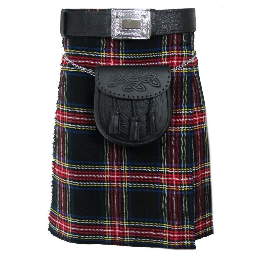 Black Stewart 5 Yard Acrylic Kilt Scottish Tartan 40 Size Skirt