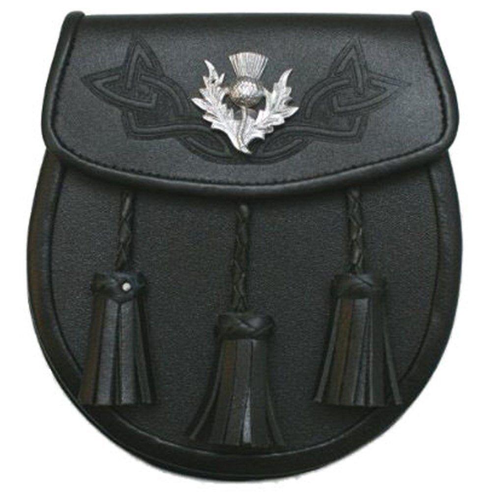 Men's Scottish Black Celtic Kilt Sporran With Metal Thistle