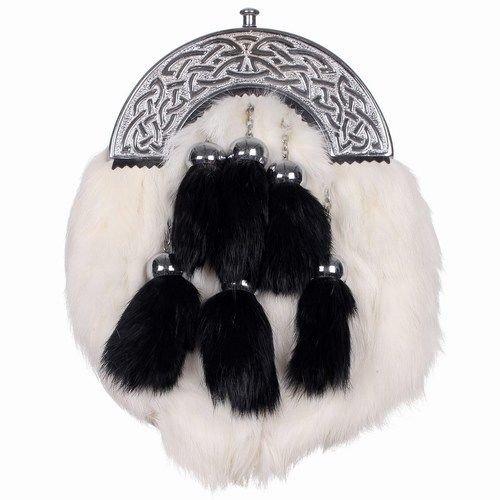 Black and White RABBIT FUR Skin 4 Tassel Leather Kilt SPORRAN & Belt Scottish
