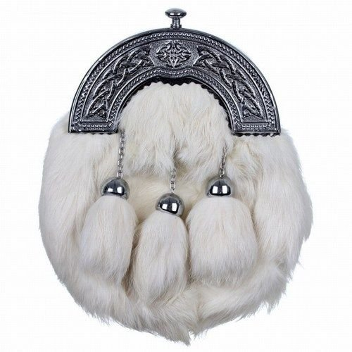 Scottish White RABBIT FUR Skin 3 Tassel Leather Kilt SPORRAN & Belt