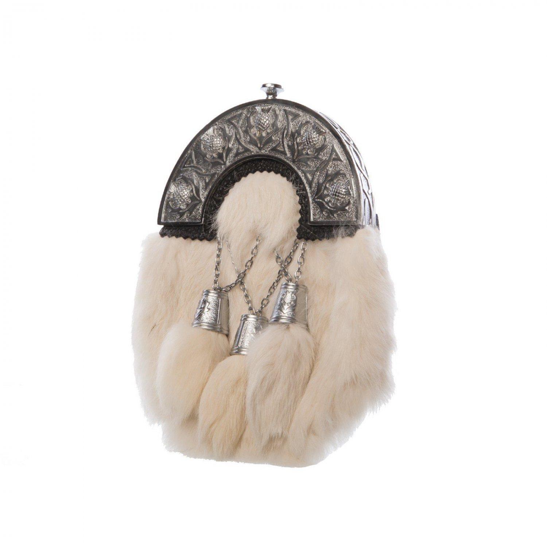 Scottish White RABBIT FUR Skin 3 Tassel Leather Kilt SPORRAN & KILT BAG