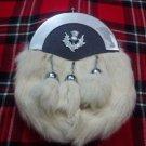 Scottish White RABBIT FUR Skin 3 TASSEL Leather Kilt SPORRAN & Belt