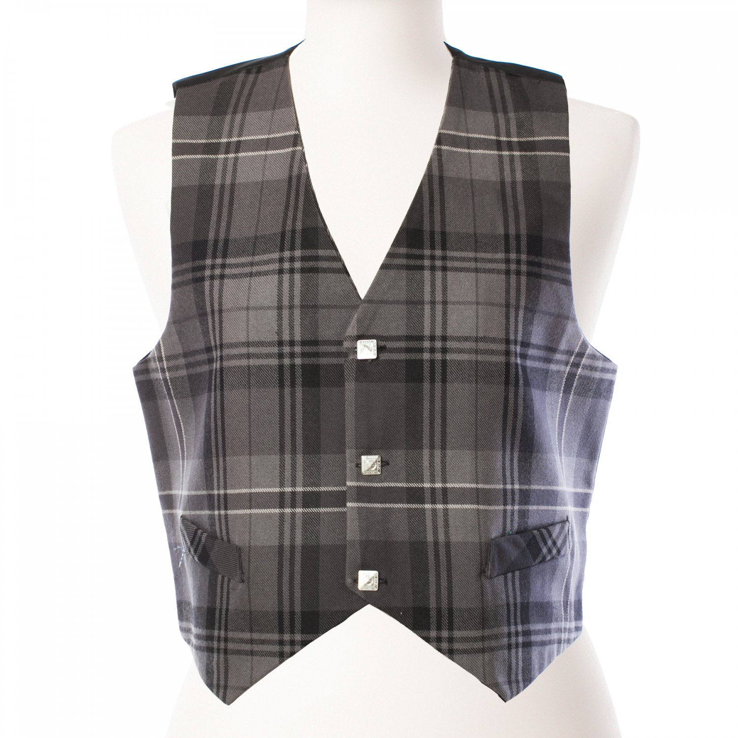 DE: Size 44 Premium Quality Gray Color Highland Tartan Plaid Vest Scottish Kilt Jacket Vest