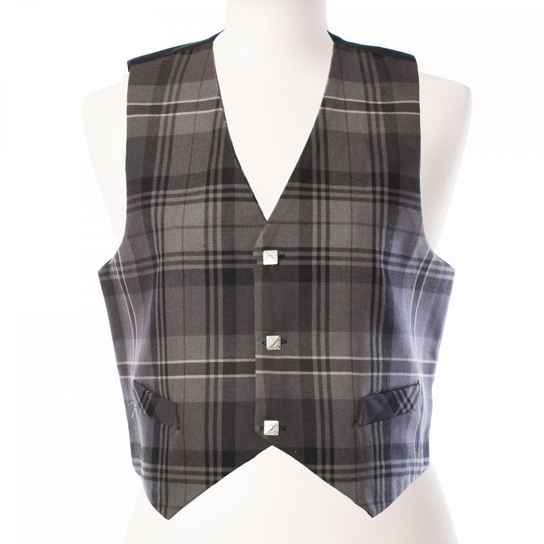 DE: Size 48 Premium Quality Gray Color Highland Tartan Plaid Vest Scottish Kilt Jacket Vest