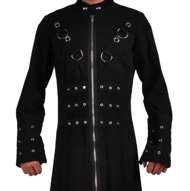 DE: Men's Black Gothic Victorian coat Largel Size Steampunk Tailcoat Jacket