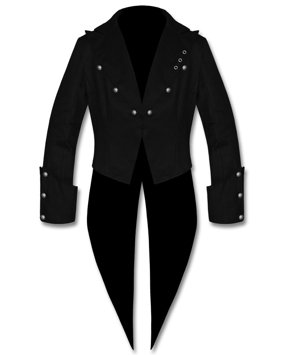 DE: Men's Size Small Steampunk Tailcoat Jacket Black Gothic Victorian coat