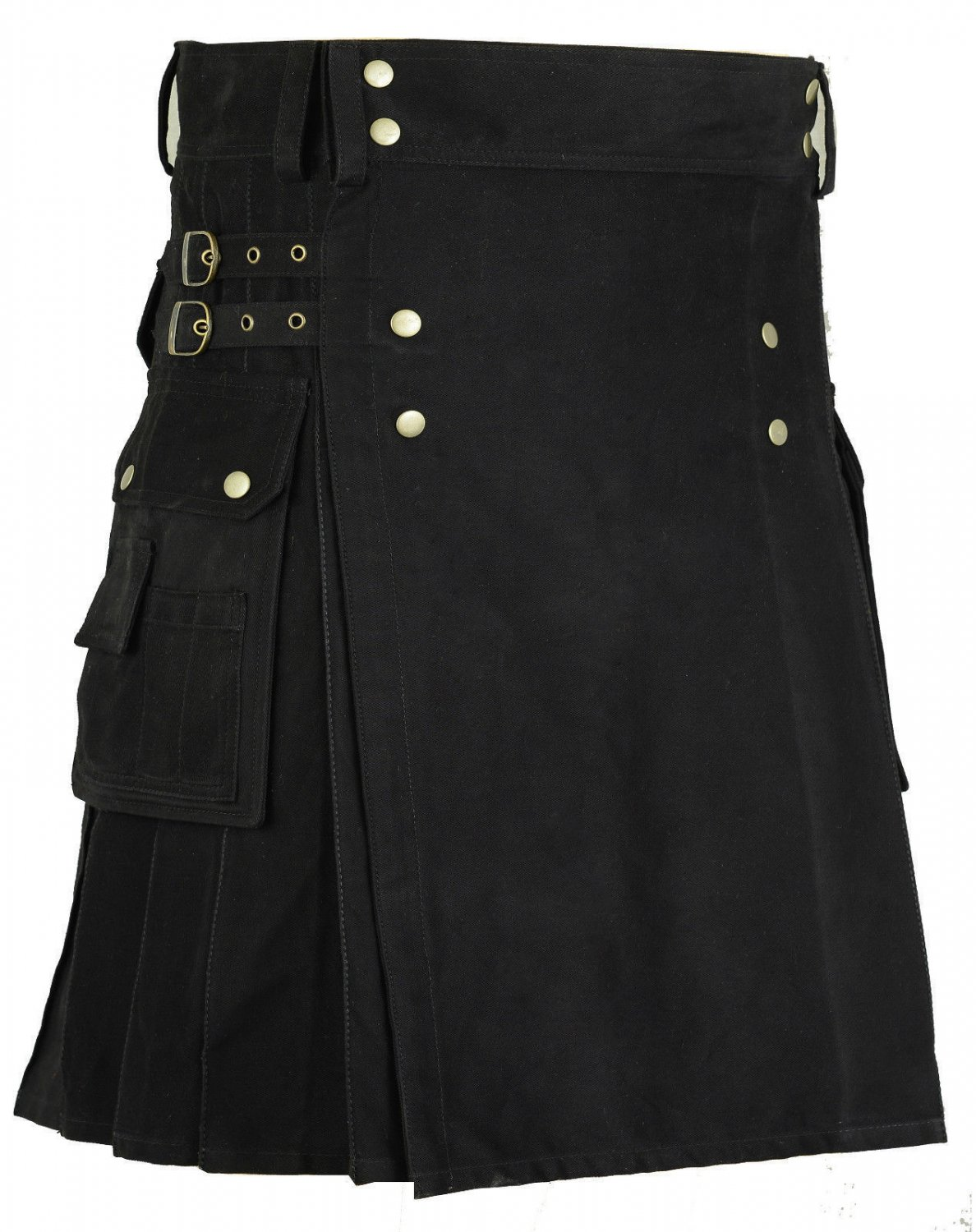 Size 36 Handmade Gothic Black Pure Cotton Kilt With Utility Side Cargo Pockets
