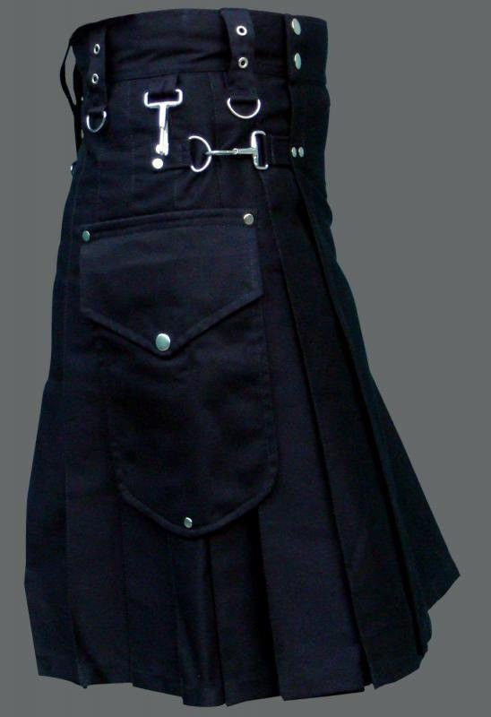 Size 34 Modern Utility Black Cotton Kilt With Big Cargo Pockets Brass Materials
