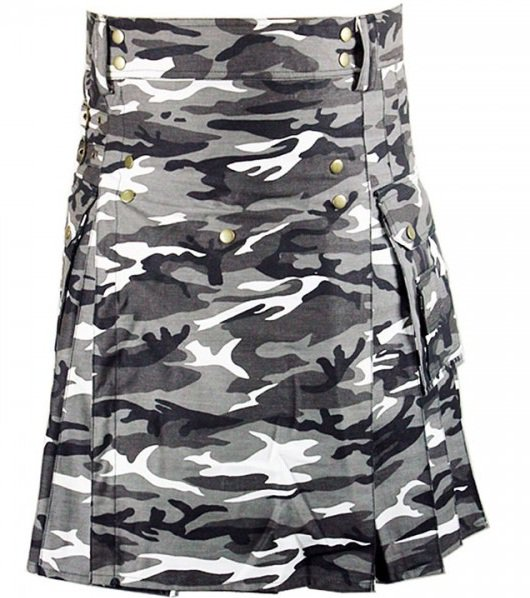 Size 36 Army Gray Camo Utility Cotton Kilt Handmade Unisex Adult Camo kilt with Big Cargo Pocket