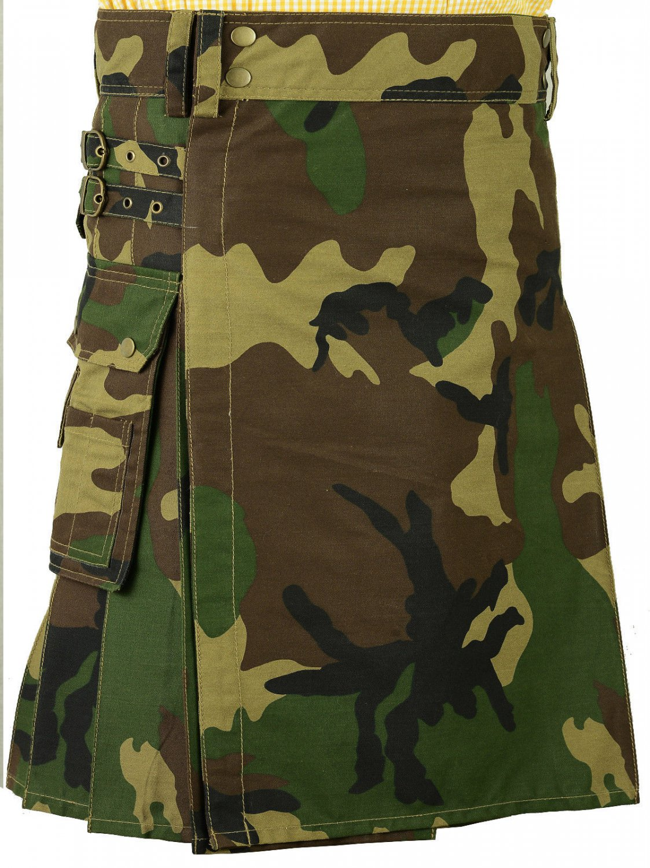 Size 38 Army Camo Utility Cotton Kilt  with Big Pockets