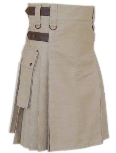 Size 40 Khaki Raised Cotton Utility Kilt with Leather Straps Tactical Kilt with Cargo Pockets