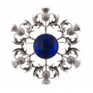 Elegant Scottish Kilt Fly Plaid Brooch Thistle - Blue Stone