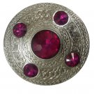 Scottish Kilt Fly Plaid Brooch Fuchsia Stone 4""