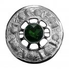 Men,s Scottish Green Stone Fly Plaid Brooch Kilt Chrome Finish Diameter 3""