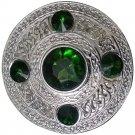 "Zounds Men's Celtic Kilt Fly Plaid Brooch Green Stones Silver 4""/Scottish/Highland"