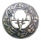 Stag Head Fly Plaid Brooch Antique Finish/Kilt Plaid Brooch Stag Deer Head