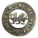 "Scottish Kilt Fly Plaid Brooch Welsh Dragon Antique Finish 3"" (7cm) diameter"