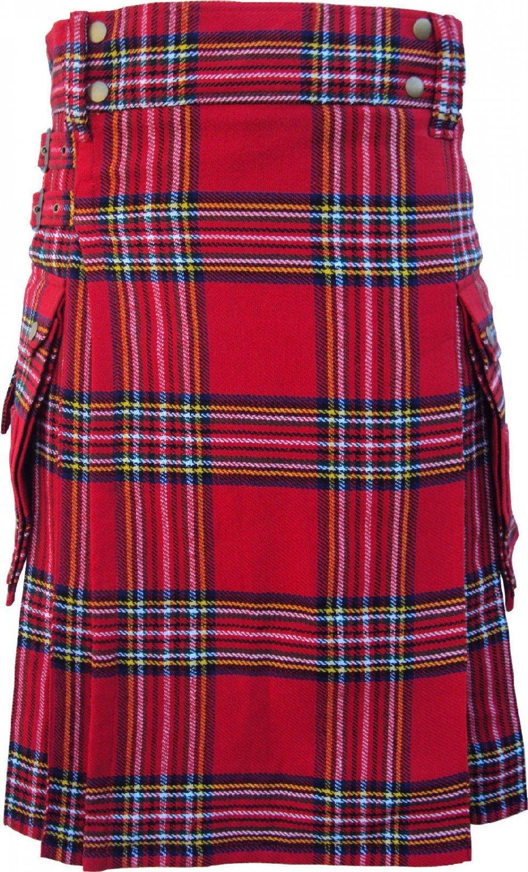 Waist 44 Traditional Highland Scottish Royal Stewart Tartan kilt-Skirt with Cargo Pockets