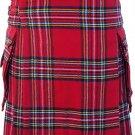 Waist 48 Traditional Highland Scottish Royal Stewart Tartan kilt-Skirt with Cargo Pockets