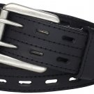 Size 40 Scottish Highland Black Kilt Belt Double Prong Leather Kilt Belt for Tartan & Utility Kilts.