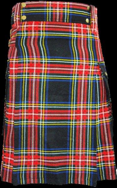60 Size Highland Utility Tartan Kilt in Black Stewart Scottish Utility Tartan Kilt for Active Men