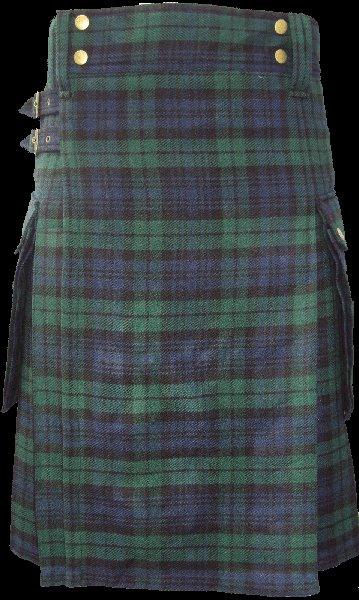 26 Size Highland Utility Tartan Kilt in Black Watch Scottish Cargo Tartan Kilt for Active Men
