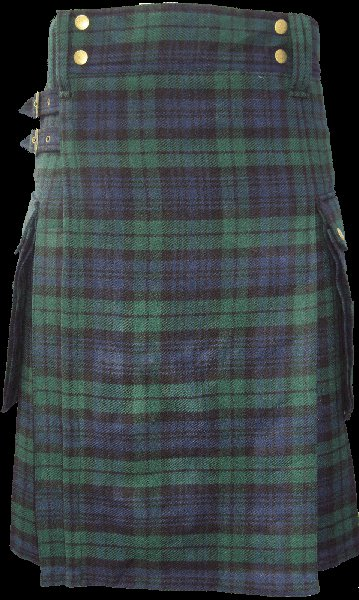 50 Size Highland Utility Tartan Kilt in Black Watch Scottish Cargo Tartan Kilt for Active Men