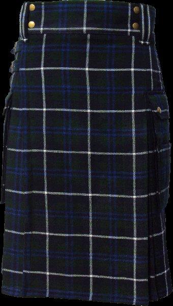 56 Size Highland Utility Tartan Kilt in Blue Douglas Scottish Cargo Tartan Kilt for Active Men