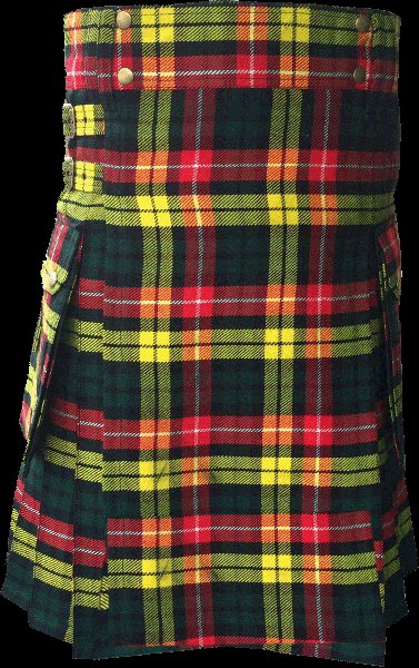 54 Size Highland Utility Kilt in Buchanan Tartan Scottish Cargo Tartan Kilt for Active Men