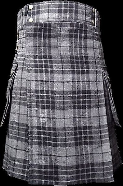 28 Size Highland Utility Kilt in Gray Watch Tartan Scottish Cargo Tartan Kilt for Active Men