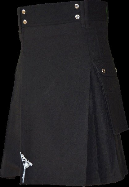 58 Size Highland Utility Kilt in Plain Black Tartan Scottish Cargo Tartan Kilt for Active Men