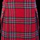 48 Size Highland Utility Kilt in Royal Stewart Tartan Scottish Cargo Pocket Kilt for Active Men