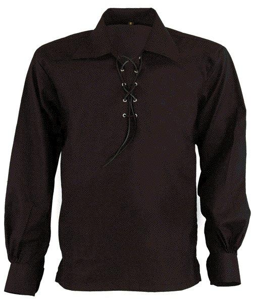 DE: Premium Quality Size Extra Large Black Scottish Highland Jacobean Jacobite Ghillie Kilt Shirt