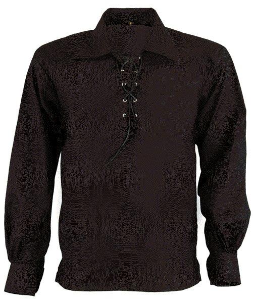 DE: Premium Quality Size 3XL  Black Scottish Highland Jacobean Jacobite Ghillie Kilt Shirt