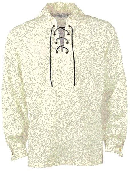 Medium Size Off White Jacobean Jacobite Ghillie Kilt Shirt for Men with Expedite Shipping