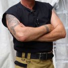 4XL Size Sleeveless Black Jacobean Jacobite Ghillie Kilt Shirt for Men with Expedite Shipping