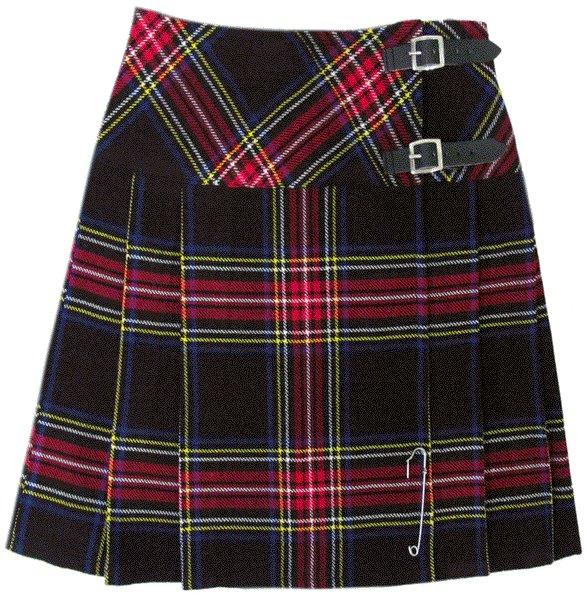 Ladies Black Stewart Tartan Mini Billie Kilt Mod Skirt sz 32 waist Girls Mini Billie Skirt