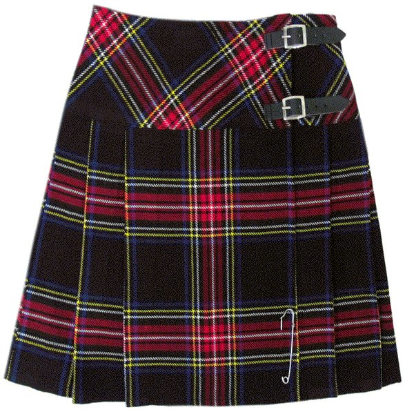 Ladies Black Stewart Tartan Mini Billie Kilt Mod Skirt sz 34 waist Girls Mini Billie Skirt