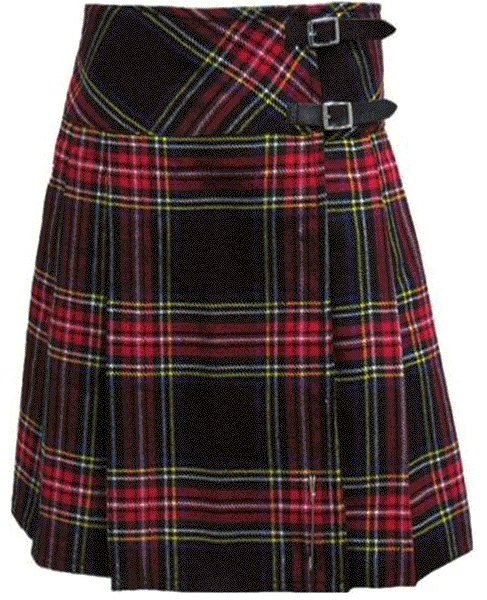 Ladies Knee Length Kilted Skirt, 28 sz Scottish Billie Kilt Mod Skirt in Black Stewart Tartan