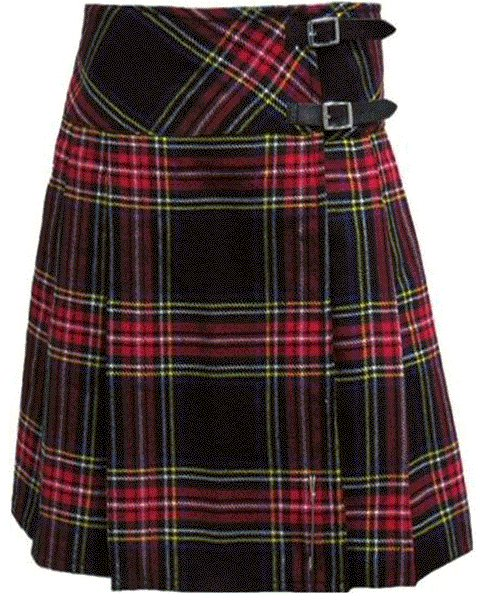 Ladies Knee Length Kilted Skirt, 54 sz Scottish Billie Kilt Mod Skirt in Black Stewart Tartan