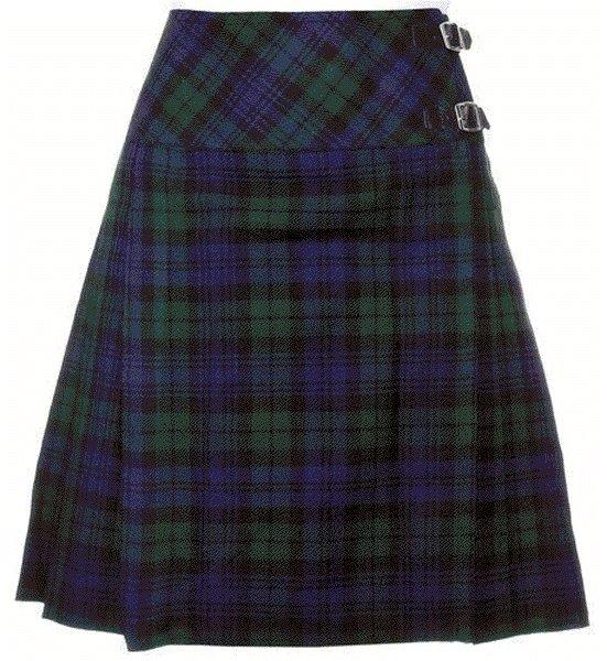 54 sz Scottish Billie Kilt Mod Skirt in Black Watch Tartan, Ladies Knee Length Kilted Skirt