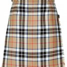 Ladies Knee Length Kilted Skirt, 52 sz Scottish Billie Kilt Mod Skirt in Camel Thompson Tartan