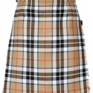 Ladies Knee Length Kilted Skirt, 64 sz Scottish Billie Kilt Mod Skirt in Camel Thompson Tartan