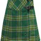 Ladies Knee Length Kilted Long Skirt, 26 sz Scottish Billie Kilt Mod Skirt in Irish National Tartan