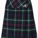 Ladies Knee Length Kilted Long Skirt, 38 sz Scottish Billie Kilt Mod Skirt in Mackenzie Tartan