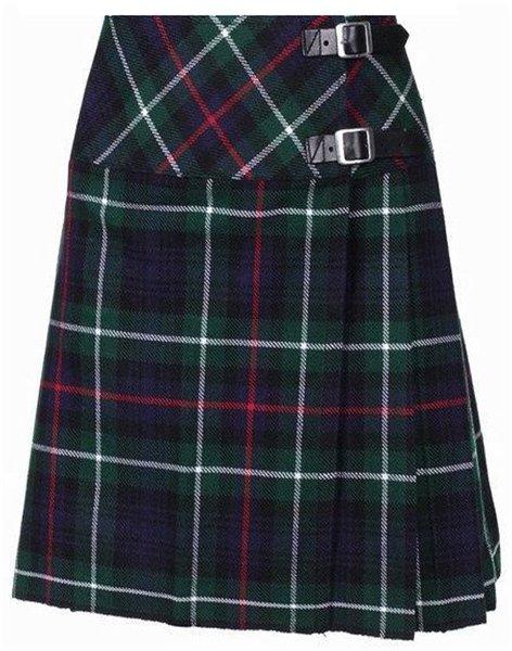 Ladies Knee Length Kilted Long Skirt, 60 sz Scottish Billie Kilt Mod Skirt in Mackenzie Tartan